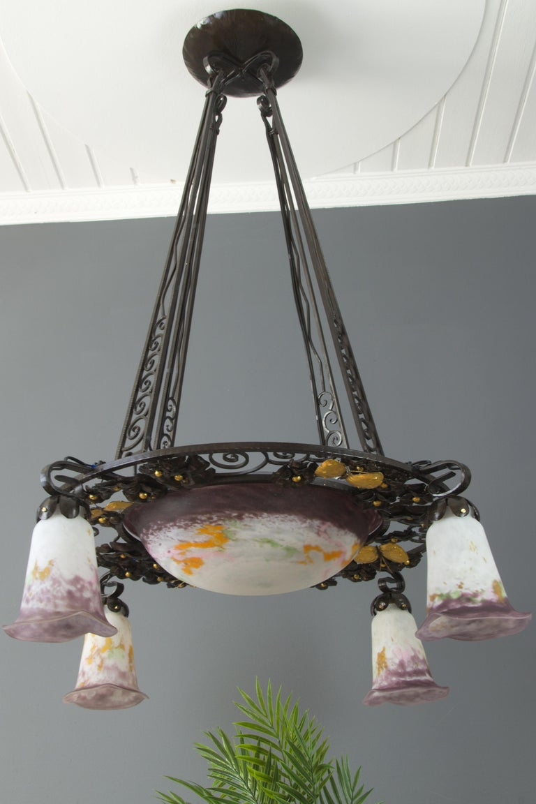French Art Nouveau Five-Light Wrought Iron and Glass Chandelier Signed Lorrain For Sale 3