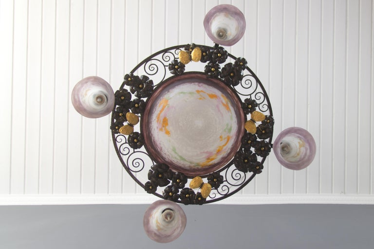 French Art Nouveau Five-Light Wrought Iron and Glass Chandelier Signed Lorrain For Sale 4