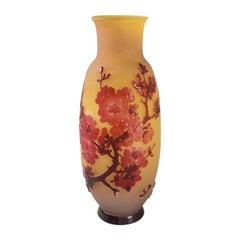 French Art Nouveau 'Fleurs de pommier' Cameo Glass Vase by Émile Gallé