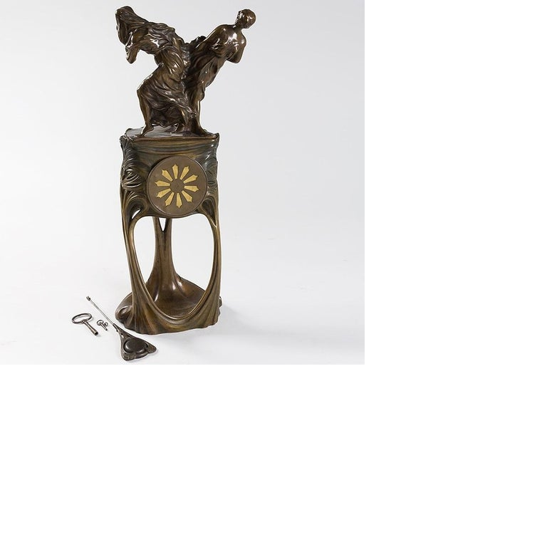 French Art Nouveau Gilt Bronze Clock by Dufrène For Sale 1