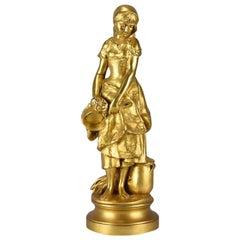 French Art Nouveau Gilt Bronze 'La Jeune Femme' by Adrien Gaudez