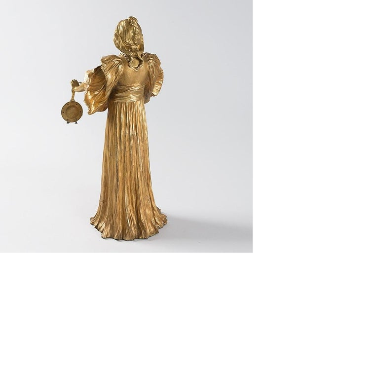 French Art Nouveau Gilt Bronze Sculpture by Agathon Léonard In Excellent Condition For Sale In New York, NY
