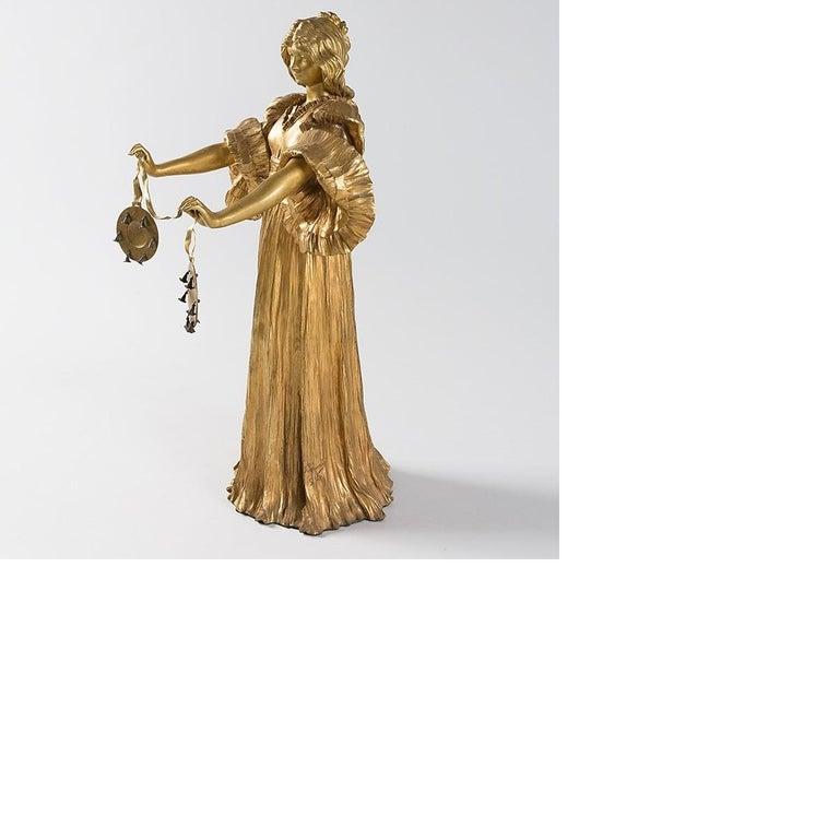 Early 20th Century French Art Nouveau Gilt Bronze Sculpture by Agathon Léonard For Sale