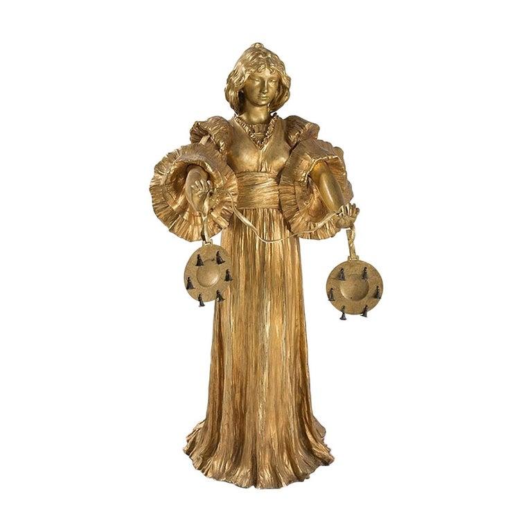 French Art Nouveau Gilt Bronze Sculpture by Agathon Léonard For Sale