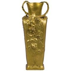 French Art Nouveau Gilt Bronze Vase, circa 1880