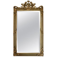 French Art Nouveau Gilt Fireplace Mantel Mirror, 1900s