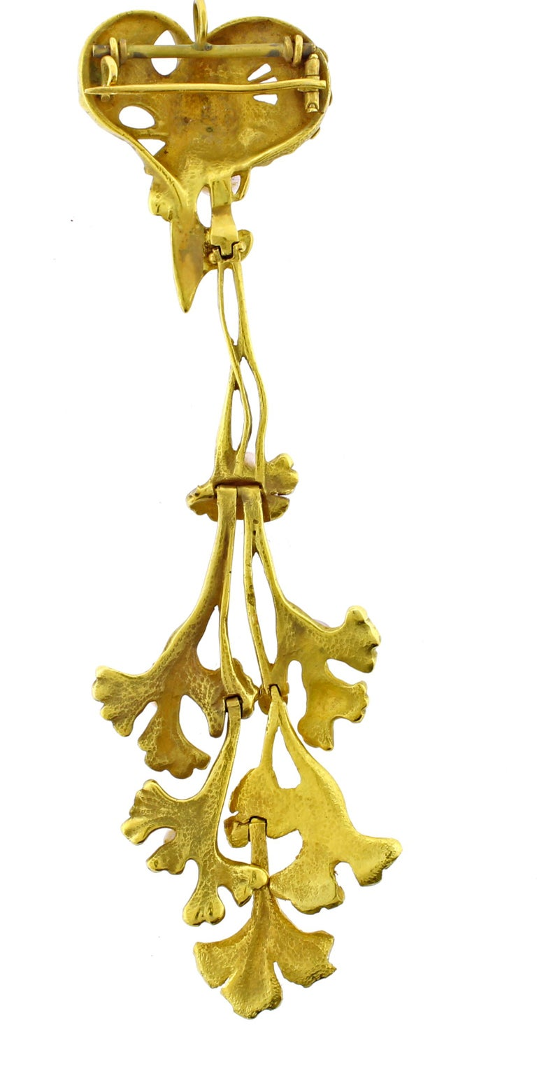 Women's or Men's French Art Nouveau Ginkgo Leaf and Fish Brooch/Pendant For Sale