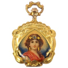 French Art Nouveau Gold and Diamond Enamel Pocket Watch