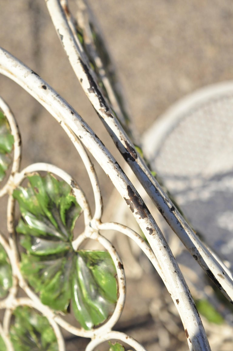 French Art Nouveau Green Flower Maple Leaf Garden Patio Dining Set - 5 Piece Set For Sale 4