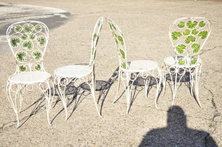 French Art Nouveau Green Flower Maple Leaf Garden Patio Dining Set - 5 Piece Set For Sale 6