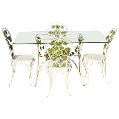 French Art Nouveau Green Flower Maple Leaf Garden Patio Dining Set - 5 Piece Set