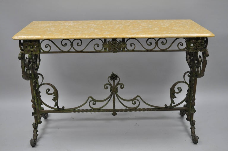 french art nouveau green wrought iron marble top scrolling console hall table for sale at 1stdibs. Black Bedroom Furniture Sets. Home Design Ideas