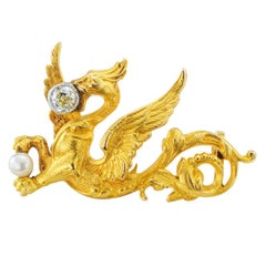 French Art Nouveau Griffin Diamond Pearl Gold Brooch