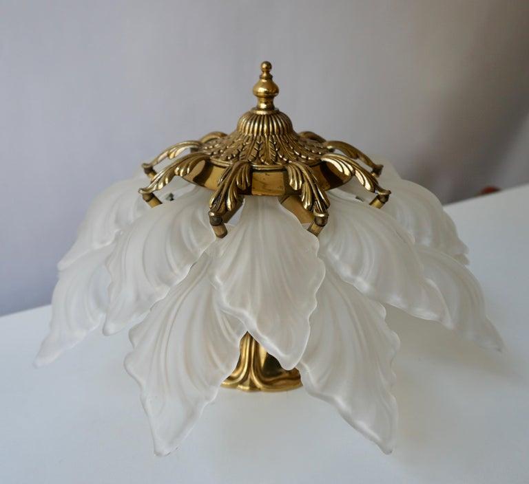 20th Century French Art Nouveau Hollywood Regency Flush Mount, Gilt Bronze Glass For Sale
