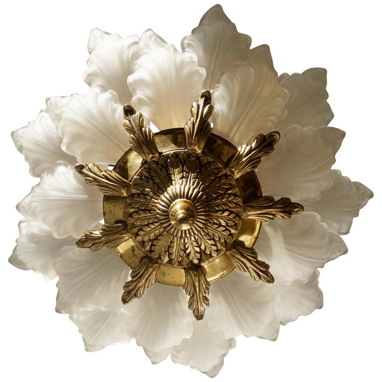 French Art Nouveau Hollywood Regency Flush Mount, Gilt Bronze Glass For Sale