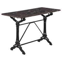 French Art Nouveau Iron and Marble Bistro Table, 1900s