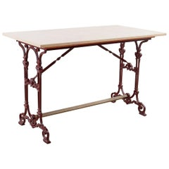 French Art Nouveau Iron and Marble Bistro Table