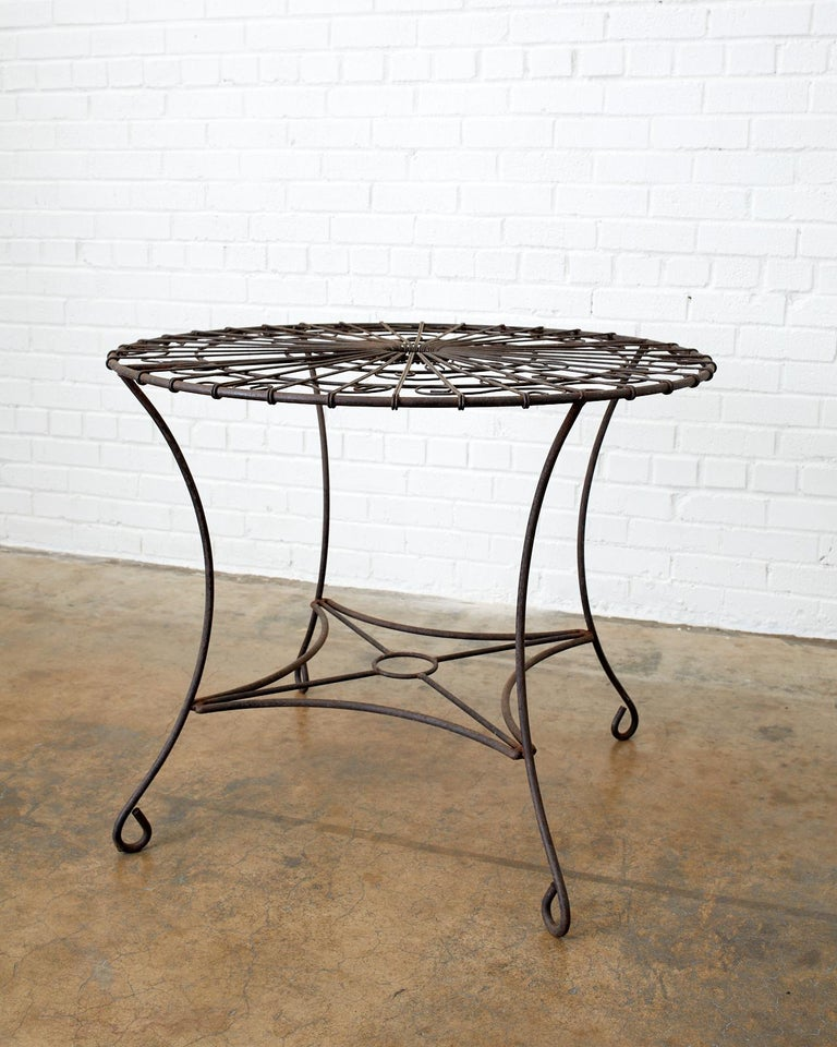 Hand-Crafted French Art Nouveau Iron and Wire Garden Table For Sale