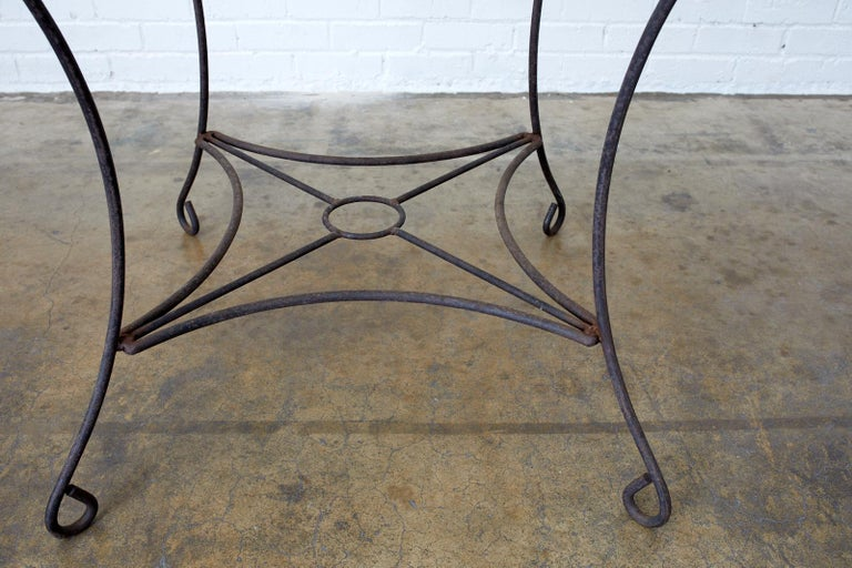 French Art Nouveau Iron and Wire Garden Table For Sale 2