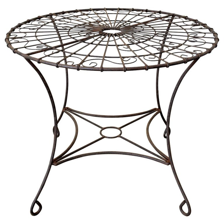 French Art Nouveau Iron and Wire Garden Table For Sale