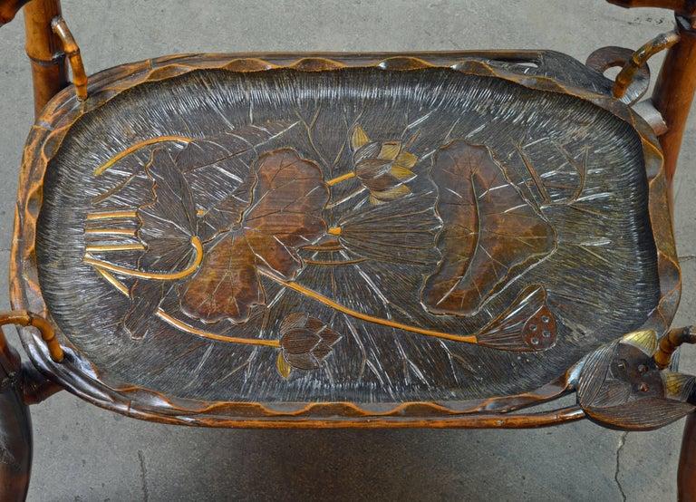 French Art Nouveau Japonaiserie Bamboo Tea Table by Perret et Vibert, Paris For Sale 5