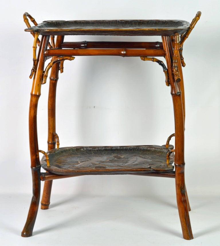 Hand-Carved French Art Nouveau Japonaiserie Bamboo Tea Table by Perret et Vibert, Paris For Sale