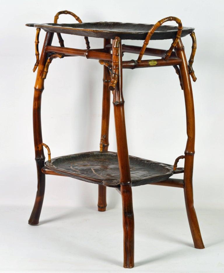 French Art Nouveau Japonaiserie Bamboo Tea Table by Perret et Vibert, Paris In Good Condition For Sale In Ft. Lauderdale, FL
