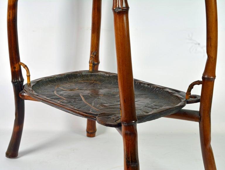 19th Century French Art Nouveau Japonaiserie Bamboo Tea Table by Perret et Vibert, Paris For Sale