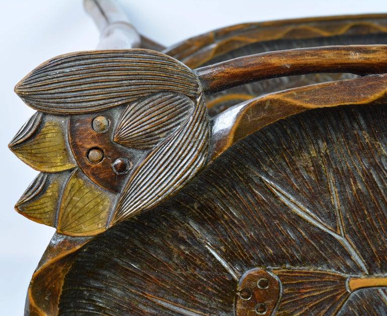 French Art Nouveau Japonaiserie Bamboo Tea Table by Perret et Vibert, Paris For Sale 2