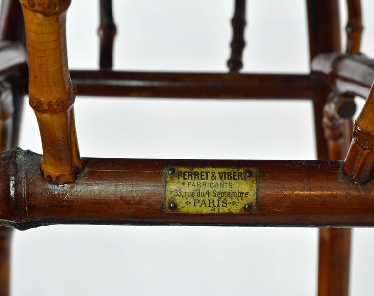 French Art Nouveau Japonaiserie Bamboo Tea Table by Perret et Vibert, Paris For Sale 3