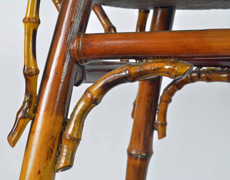French Art Nouveau Japonaiserie Bamboo Tea Table by Perret et Vibert, Paris For Sale 4