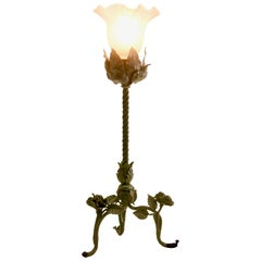 French Art Nouveau Lamp in Wrought Iron with Glass Shade, 1910s
