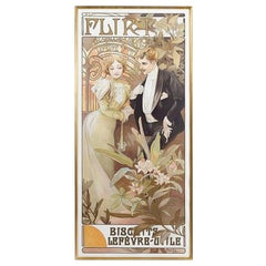 "French Art Nouveau Lithograph ""Flirt Biscuits"" by Mucha"