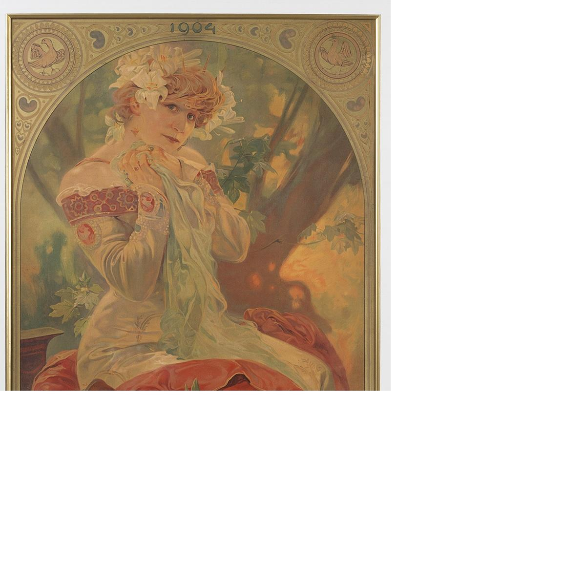 Collection Here Two Alphonse Mucha Lithograph Posters From Figures Decoratives 1904 Authentic. Other Antique Decorative Arts