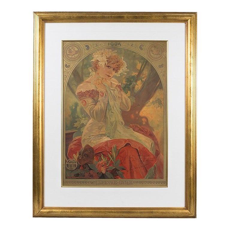 "French Art Nouveau Lithograph, ""La Princess Lointaine"" by Alphonse Mucha"
