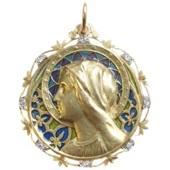 French Art Nouveau Madonna Virgin Mary Plique Ajour Enamel Diamond Gold Pendant