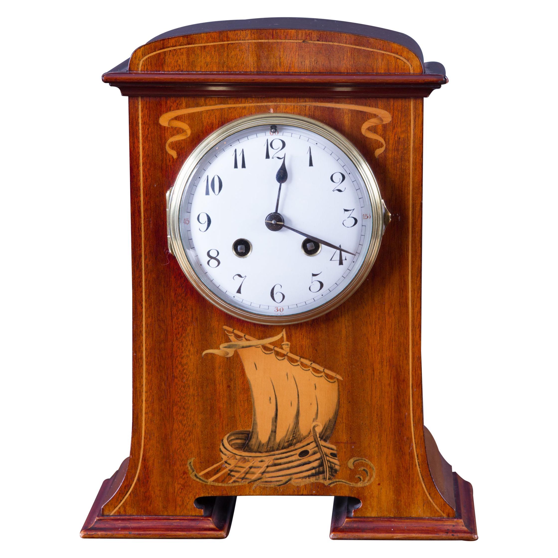 French Art Nouveau Mahogany Cased Mantel Clock