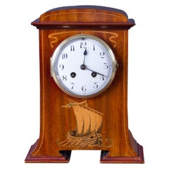 French Art Nouveau Mahogany Cased Mantel Clock