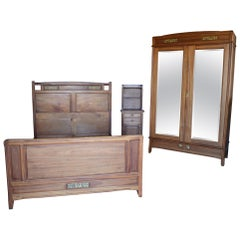 French Art Nouveau Mahogany Clematis Bedroom Set By Mathieu Gallerey Circa 1920