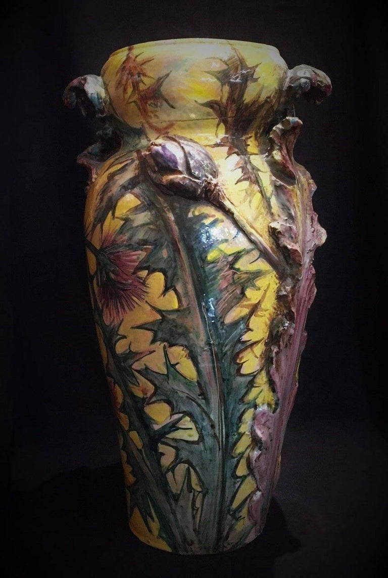 French Art Nouveau Majolica Vase with Thistles and Lizards, circa 1900 For Sale 1