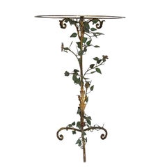 French Art Nouveau Metal and Glass Table