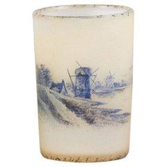 """French Art Nouveau Miniature Glass Vase """"Dutch Winter Landscape"""" by Daum Frères"""