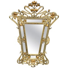 French Art Nouveau carved giltwood Mirror