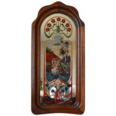 French Art Nouveau Mirror with Painted Landscape & Carved Frame in Walnut, 1900s