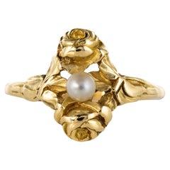 French Art Nouveau Natural Pearl 18 Karat Yellow Gold Ring