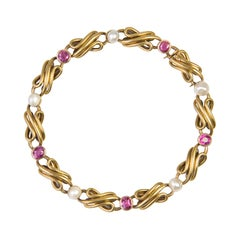 French Art nouveau Natural Pearl Ruby Gold Row Link Bracelet
