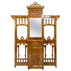 French Art Nouveau Oak Wall Wardrobe