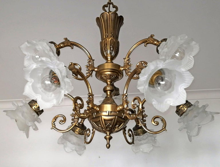 Ornate French Art Nouveau and Art Deco 2 tiers, frosted satin art glass flower petal lamp shades chandelier  Measures:  Diameter 29.5 in/ 75 cm Height 33.4 in / 85 cm Weight 15 Kg / 32 lb 9-light bulbs E14 Good working condition/European