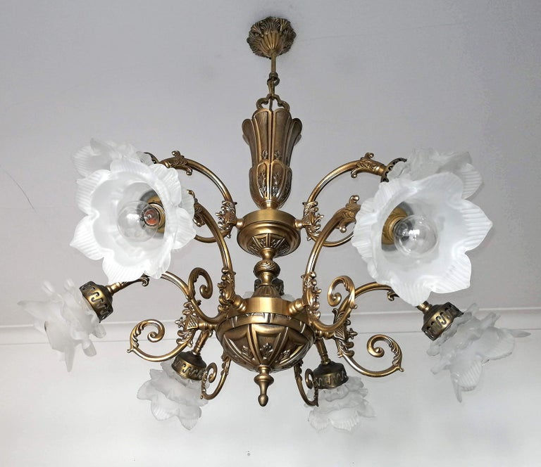 Frosted French Art Nouveau or Art Deco Art Glass Flower & Gilt Brass 9-Light Chandelier For Sale