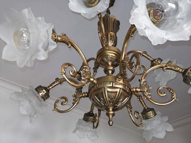 French Art Nouveau or Art Deco Art Glass Flower & Gilt Brass 9-Light Chandelier For Sale 2